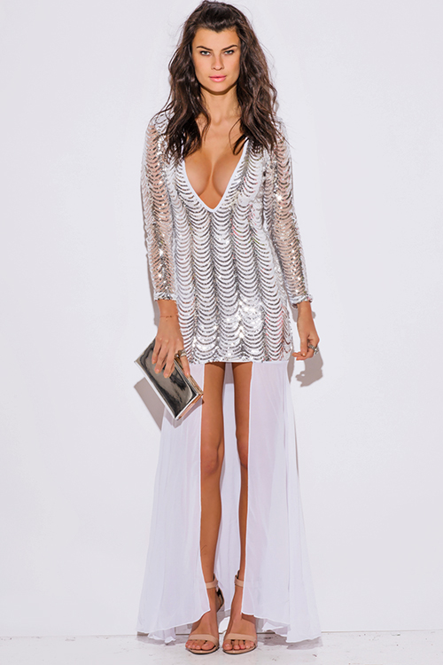 Cute cheap silver sequined white long sleeve high low slit fomral cocktail party evening dress