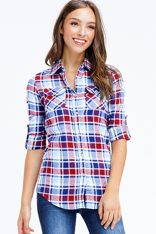 Cute cheap sky blue and red plaid long sleeve button up flannel blouse top
