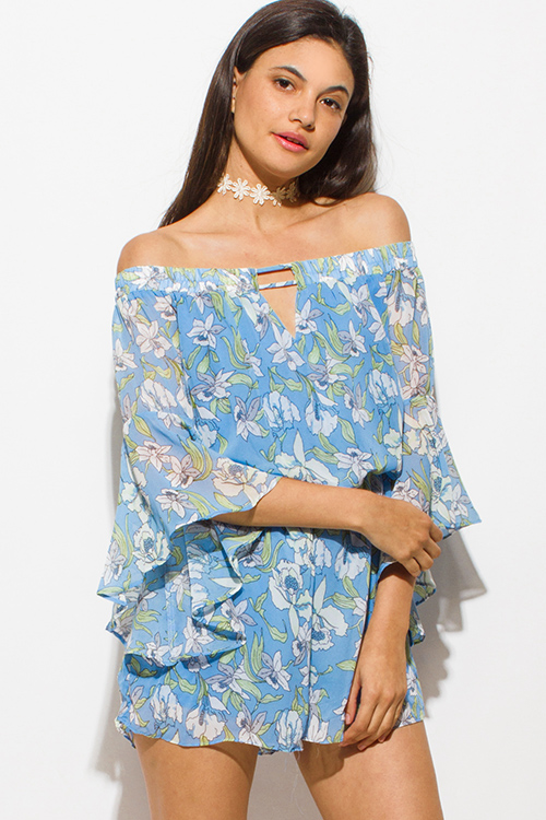 Cute cheap sky blue chiffon floral print off shoulder bell sleeve keyhole front boho romper playsuit jumpsuit