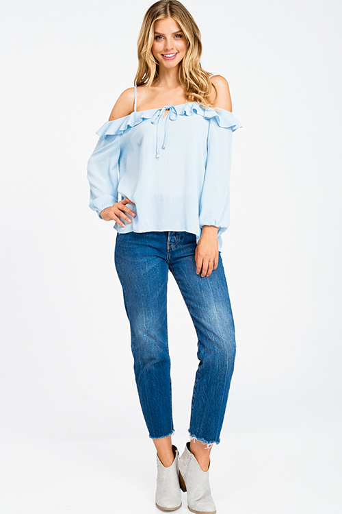 Cute cheap Sky blue ruffled cold shoulder long sleeve keyhole tie front boho top