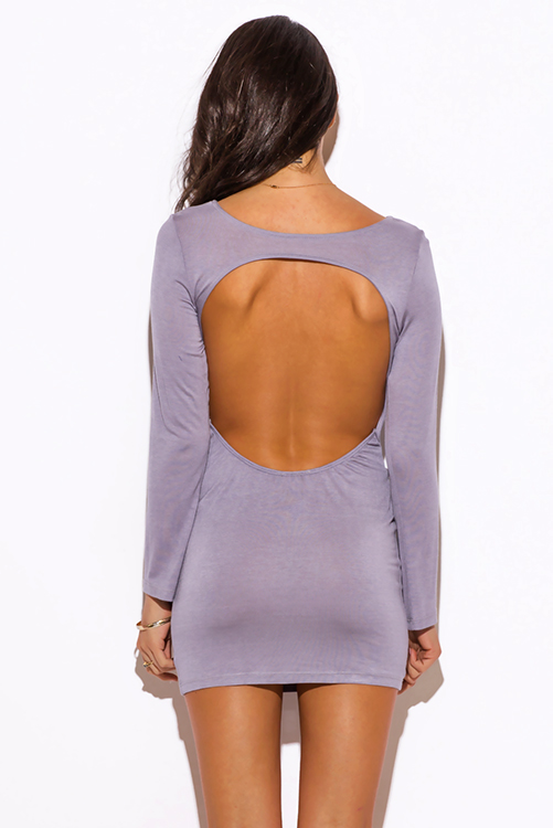 Cute cheap slate gray backless fitted long sleeve club mini dress