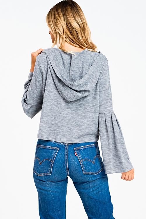 Cute cheap Slate heather grey long bell sleeve hooded boho cropped sweater top