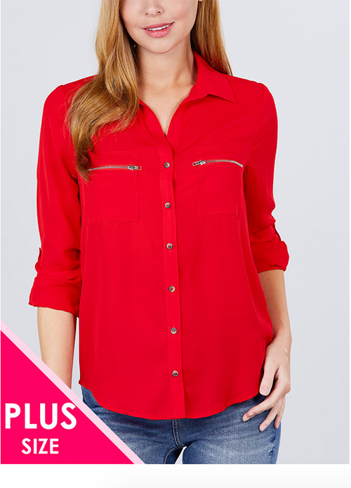 Cute cheap sleeve pocket w/zipper blouse