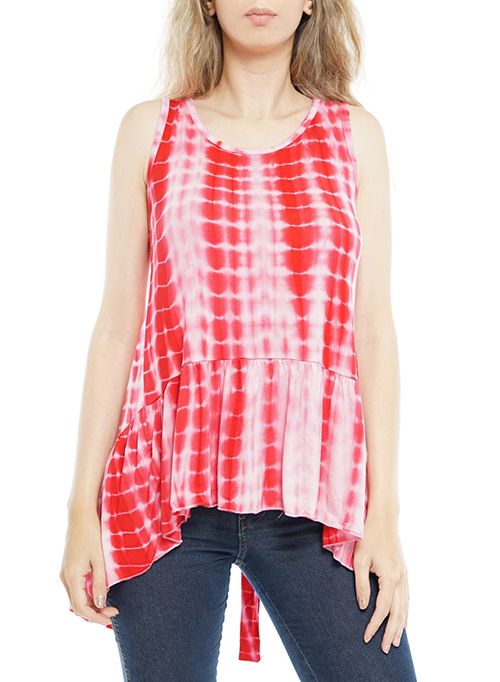 Cute cheap sleeveless open tie-back knot, tie-dye top