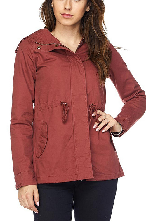 Cute cheap Solid color, hooded, 2 pocket, military style jacket with drawstring detail, button trim, and zipper closure.