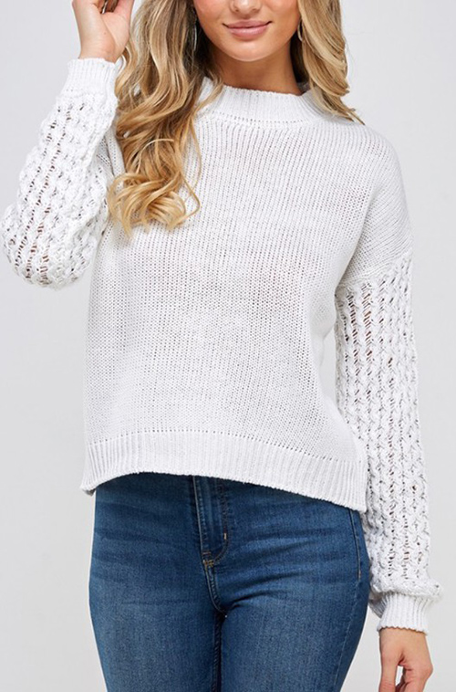 Cute cheap Solid round neck long sleeve sweater
