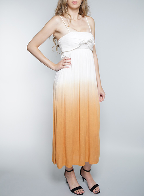 Cute cheap spaghetti straps tie-front detail dip-dyed dress.