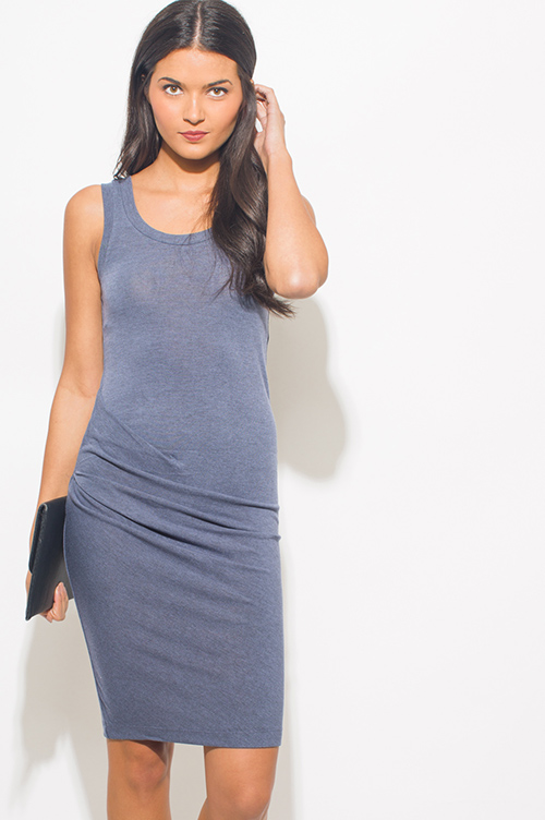 Cute cheap stone blue ruched sleeveless bodycon fitted party midi dress