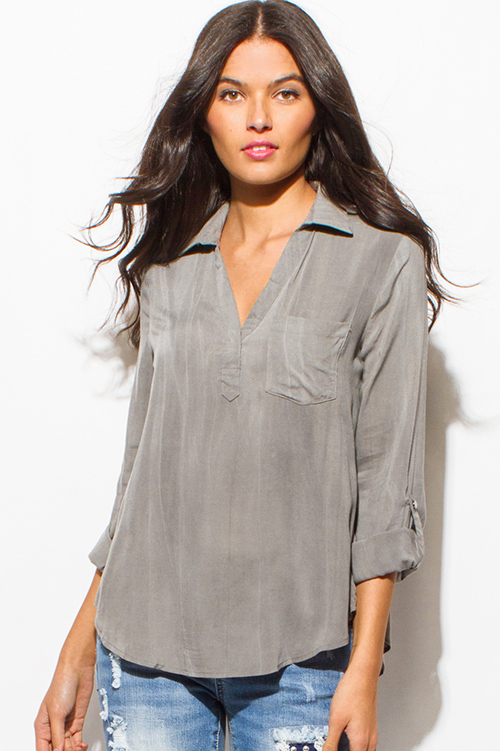Cute cheap stone gray acid wash tie dye long sleeve indian collar boho blouse top