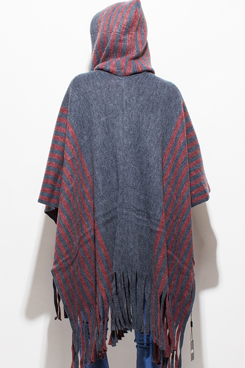 Cute cheap stone gray red striped hooded fuzzy fringe trim boho knit poncho sweater cardigan tunic top