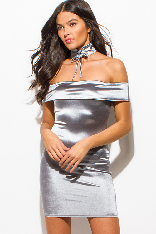 Cute cheap stone gray silver metallic satin choker off shoulder bodycon fitted club mini dress