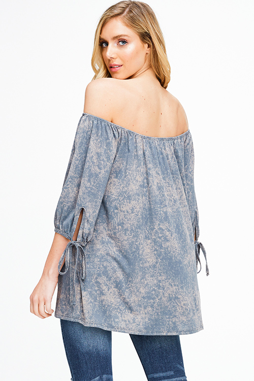 Cute cheap Stone grey acid washed tie dye off shoulder tie sleeve boho top