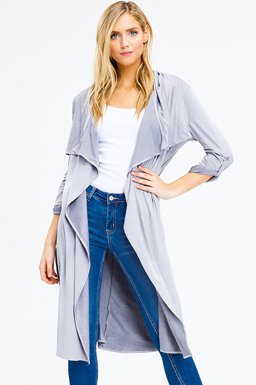 Cute cheap stone grey faux suede long sleeve waterfall draped open front tie waist duster cardigan