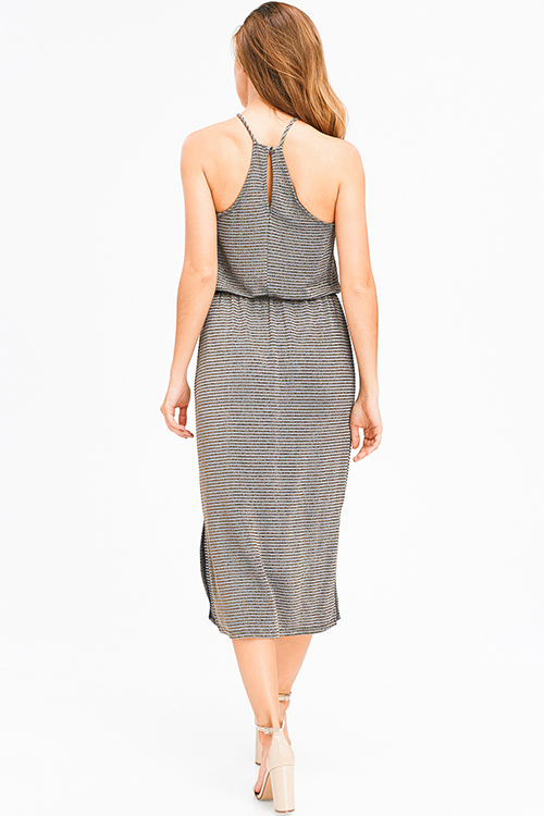 Cute cheap stone grey gold metallic lurex striped halter racer back side slit party midi dress