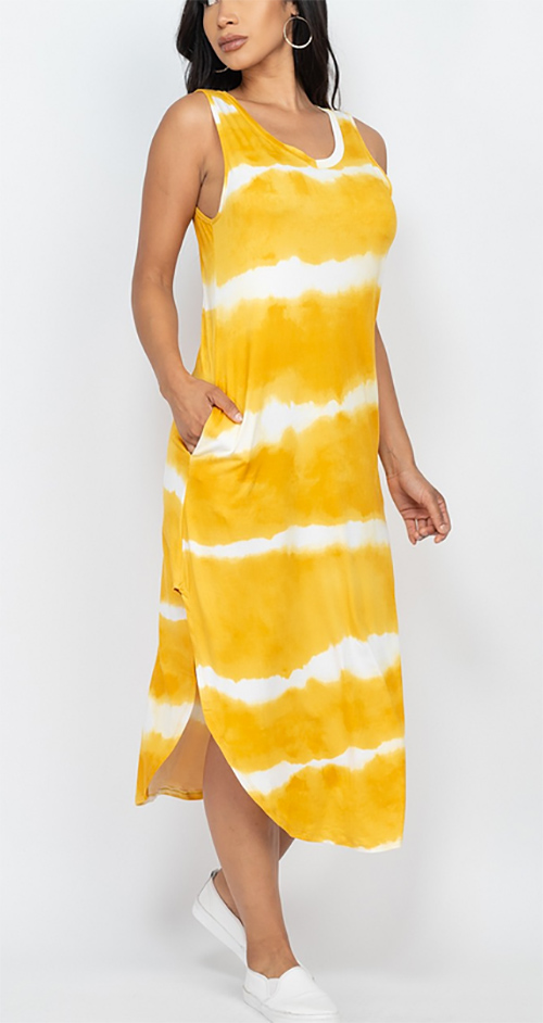 Cute cheap stripe tie-dye printed pocket maxi dress