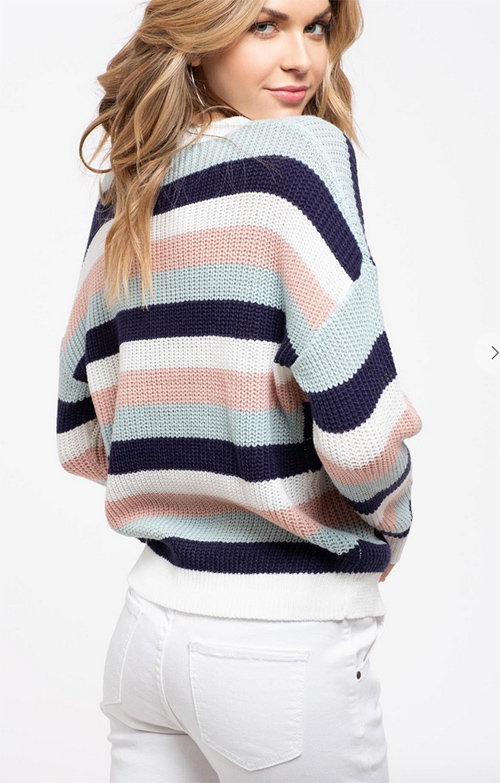 Cute cheap striped side button detail knit sweater