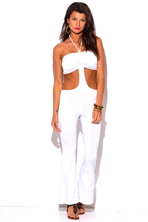 Cute cheap white cut out rope halter backless fitted summer party jumpsuit