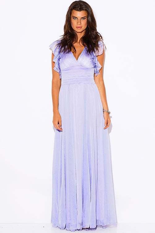 Cute cheap lilac purple chiffon ruffle empire waist backless formal evening party maxi dress