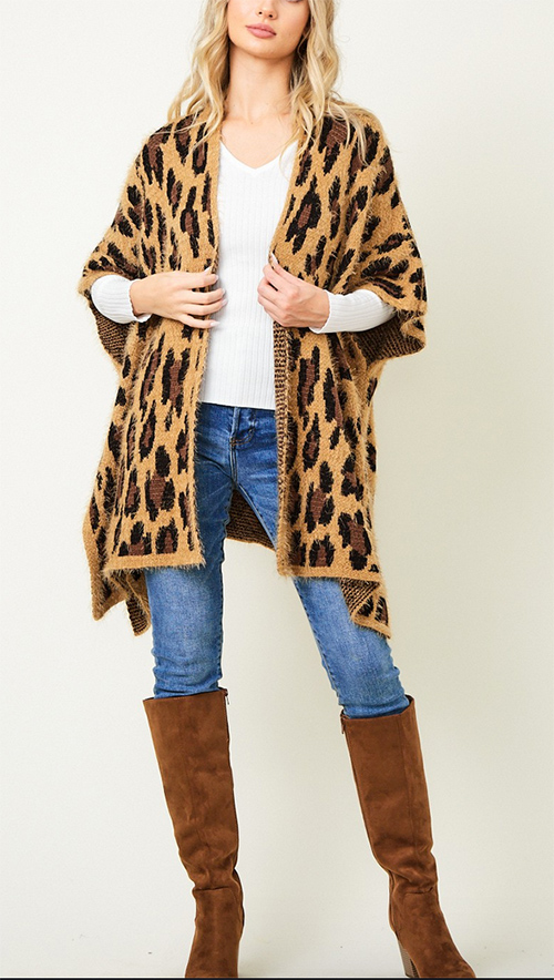 Cute cheap Sweater Cardigan with Animal Leopard Texture