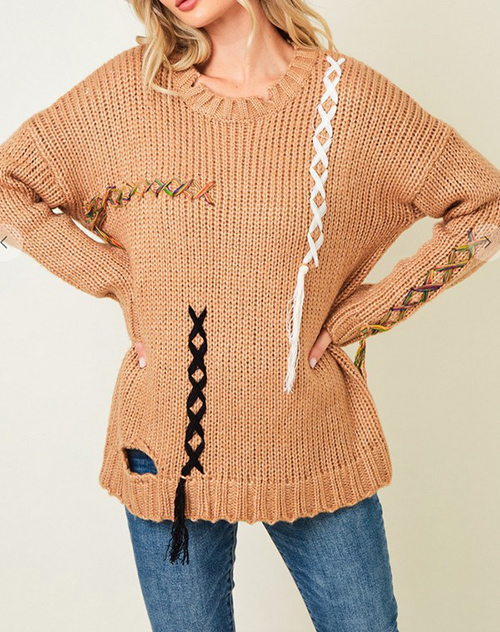 Cute cheap Sweater Crew Neck Long Sleeve Top with Braid Trim
