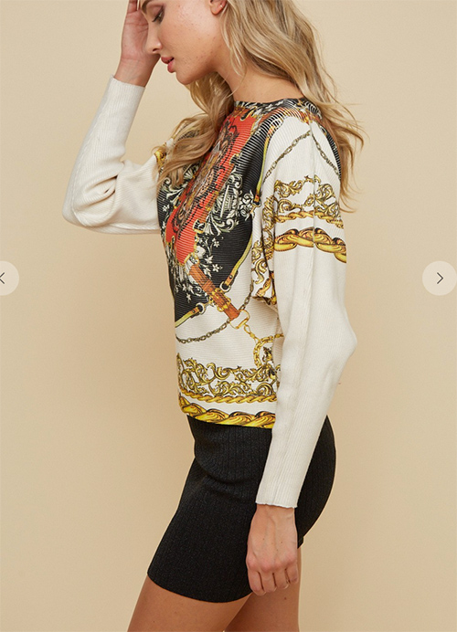 Cute cheap sweater dolman sleeve top with all over sublimation printing front and back.