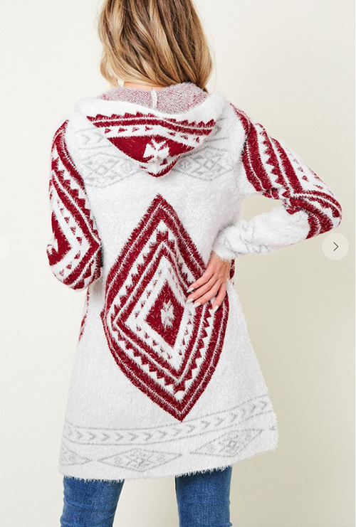 Cute cheap Sweater Long Sleeve Aztec pattern Cardigan