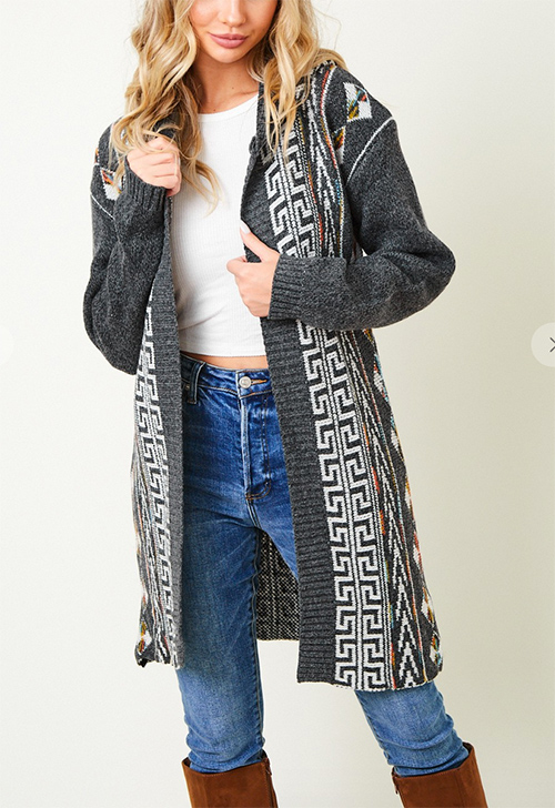 Cute cheap Sweater long sleeve hooded long cardigan