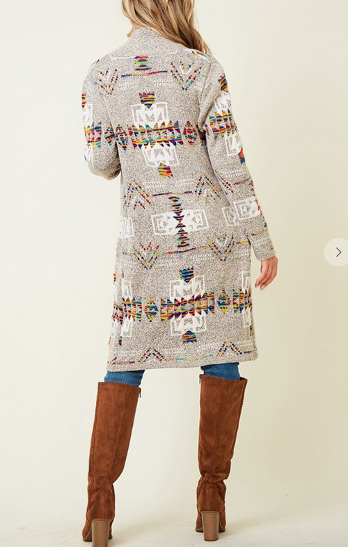 Cute cheap Sweater long sleeve open long cardigan with Aztec jacquard pattern