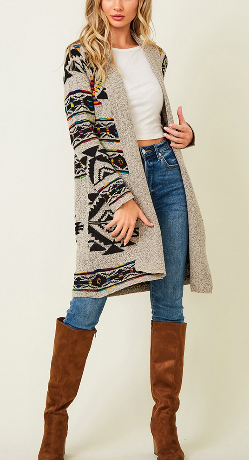 Cute cheap Sweater long sleeve open long cardigan with Aztec Rainbow Jacquard Pattern.
