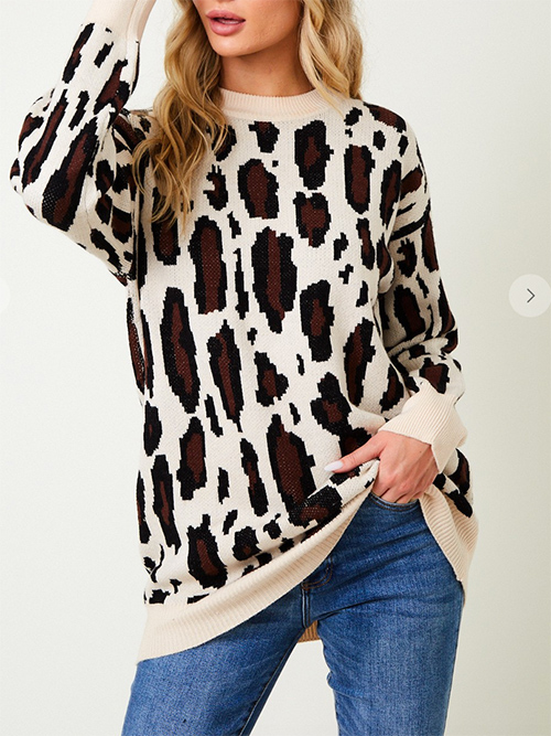 Cute cheap Sweater long sleeve top with animal print