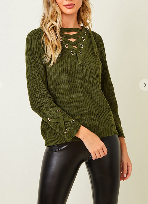 Cute cheap Sweater long sleeve V neck top with eyelet trim