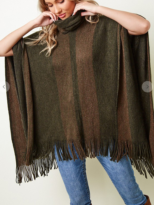 Cute cheap sweater poncho with lurex yarn