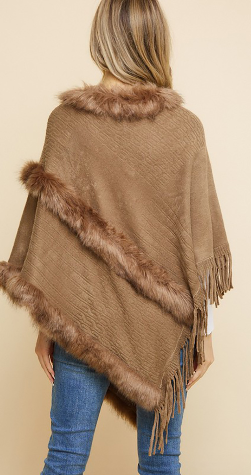 Cute cheap Sweater Poncho with Pearl EMB Text Stitch FF and Fringe.