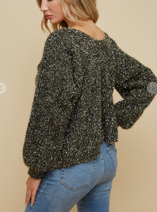 Cute cheap sweaterdouble v neck puff sleeve top with gold  lurex  fuffy yarn.