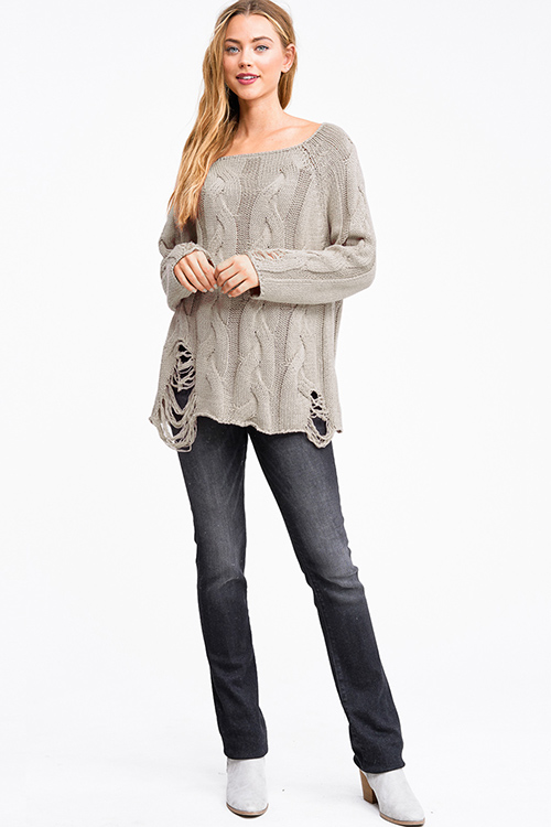Cute cheap Taupe beige cable knit long sleeve destroyed distressed fringe boho sweater top