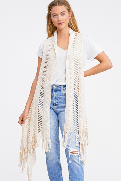 Cute cheap Taupe beige crochet knit fringe hem open front boho sweater cardigan vest top