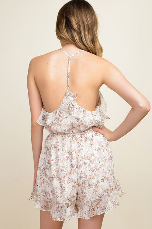 ae2859568a3d Cute cheap Taupe beige floral print chiffon ruffled halter backless boho  party romper