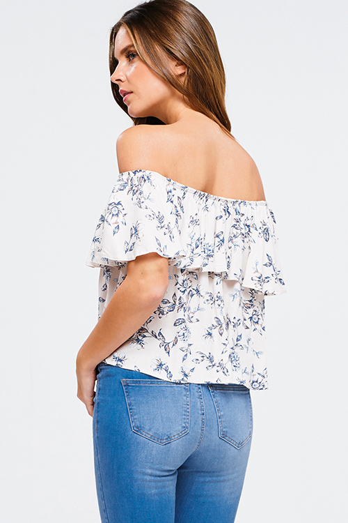 Cute cheap Taupe beige floral print ruffle off shoulder boho crop top
