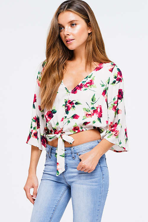 Cute cheap Taupe beige floral print v neck quarter length bell sleeve tie front boho crop blouse top