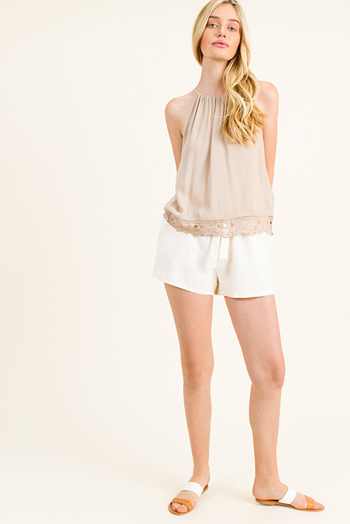 Cute cheap Taupe beige halter sleeveless crochet lace trim keyhole back summer party tank top