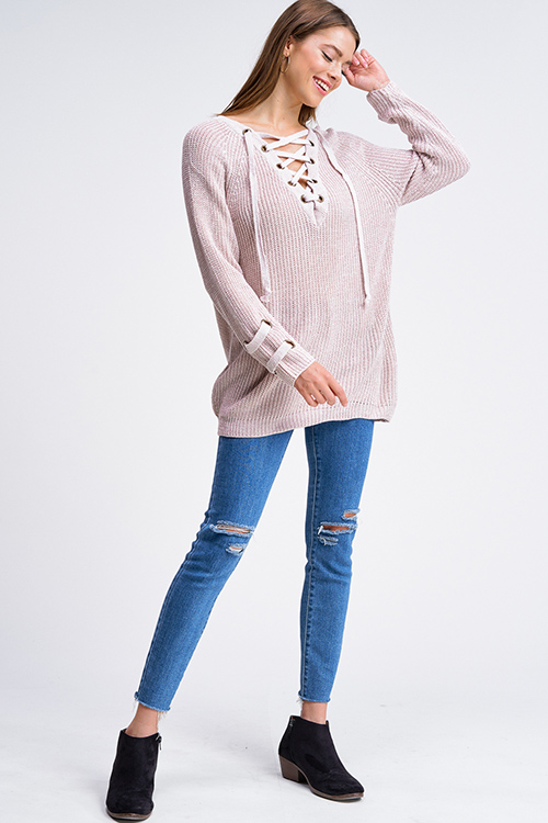 Cute cheap Taupe beige knit long sleeve eyelet detail caged laceup v neck boho sweater top