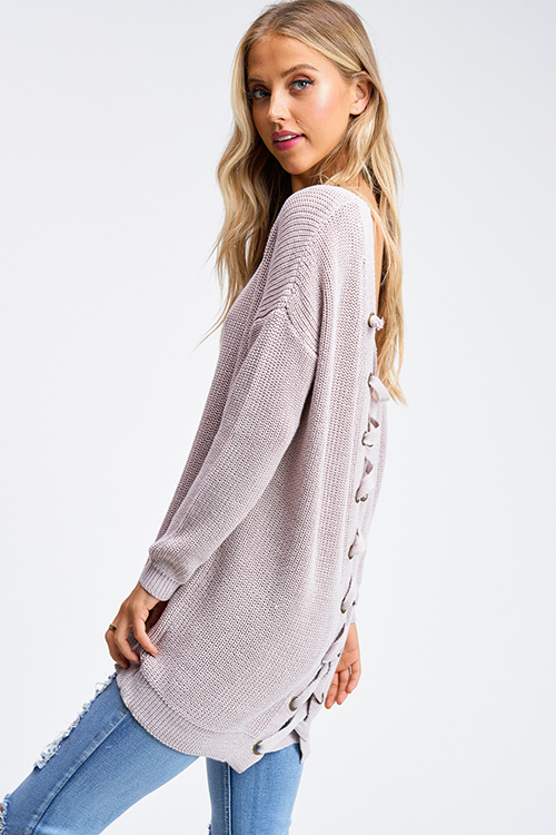 Cute cheap Taupe beige knit long sleeve v neck caged laceup back boho tunic sweater top