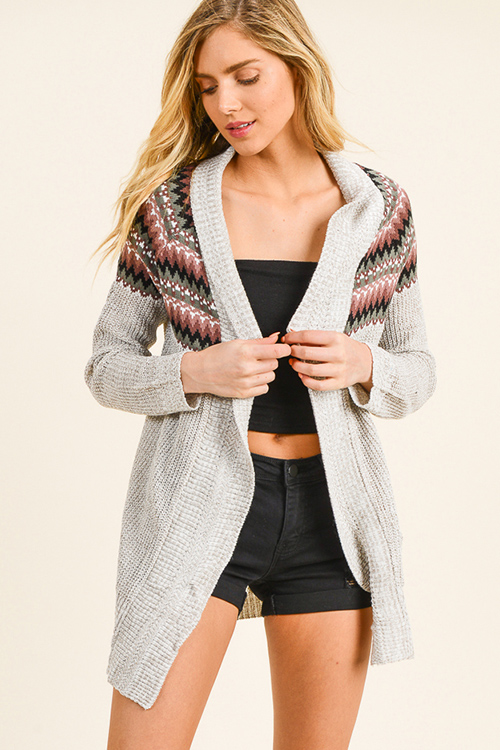 Cute cheap Taupe beige mauve ethnic print knit boho open front cocoon cardigan