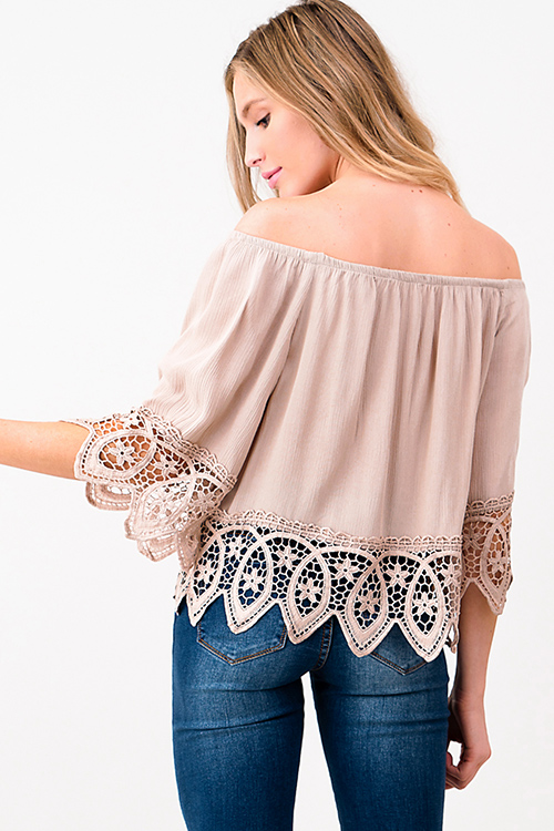Cute cheap Desert Color off shoulder quarter sleeve crochet lace trim resort boho top