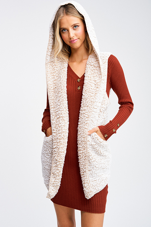 Cute cheap Taupe beige sherpa fleece hooded pocketed long cardigan vest top