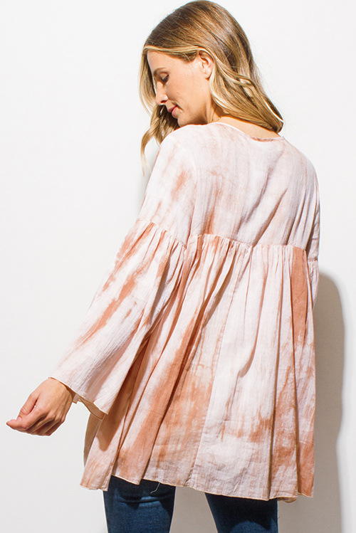 Cute cheap taupe beige tie dye rayon gauze long bell sleeve button up boho blouse top