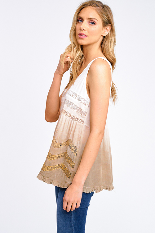 Cute cheap Taupe brown ombre tie dye crochet lace trim ruffle hem boho swing tank top