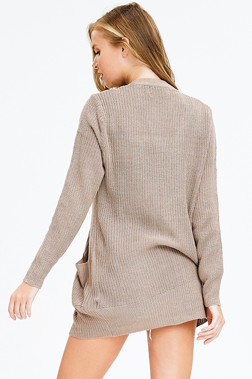 Cute cheap taupe brown waffle knit long sleeve open front pocketed boho sweater cardigan