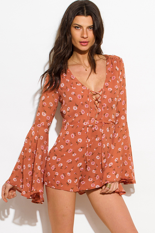 Cute cheap taupe dusty pink floral daisy print laceup long bell sleeve boho romper playsuit jumpsuit