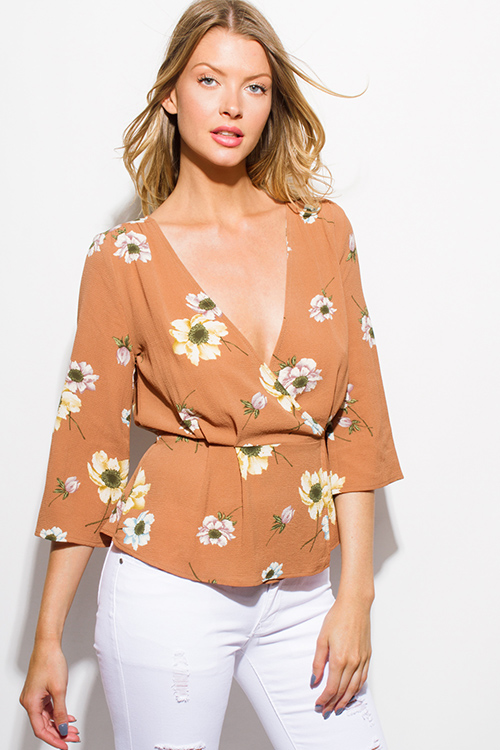 Cute cheap taupe floral print wrap front v neck half bell sleeve boho blouse top